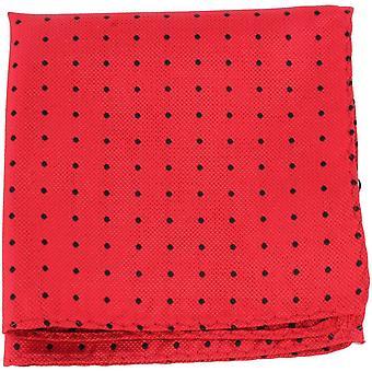 Knightsbridge Neckwear Pin Dot silke Pocket Square - rød/sort