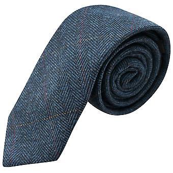 Luxury Herringbone Denim Blue Tweed Tie, Mens Necktie