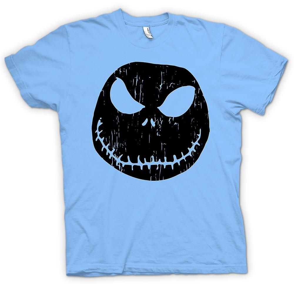 Heren T-shirt - enge Halloween pompoen - Smiley Face