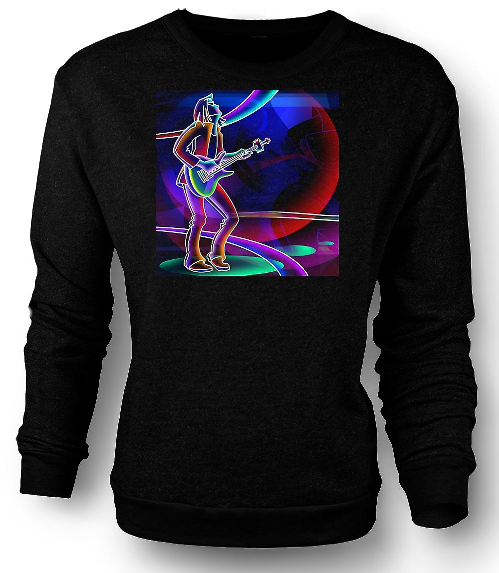 Guitariste de Rock Mens Sweatshirt Neon