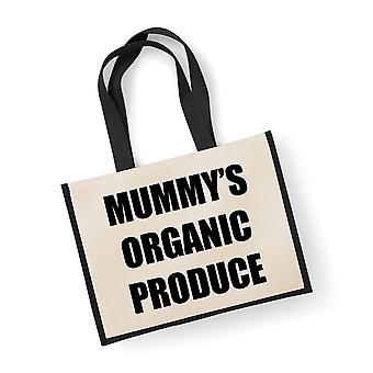 Store sorte Jute taske mors økologiske produkter