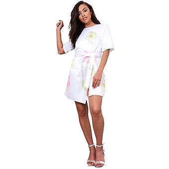 Lovemystyle Satin Wrap Dress With Multicoloured Print