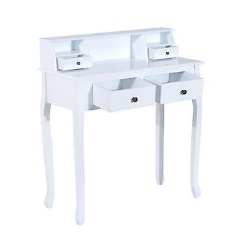 HOMCOM Dressing Table Vanity Make-Up 4 Drawers Dividers Console Desk Bedroom Furniture Nightstand Cosmetic Storage White