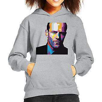 Geometric Celebrity Jason Statham Kid's Hooded Sweatshirt
