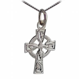9ct White Gold 16x11mm hand engraved Celtic Cross with a curb Chain 16 inches Only Suitable for Children