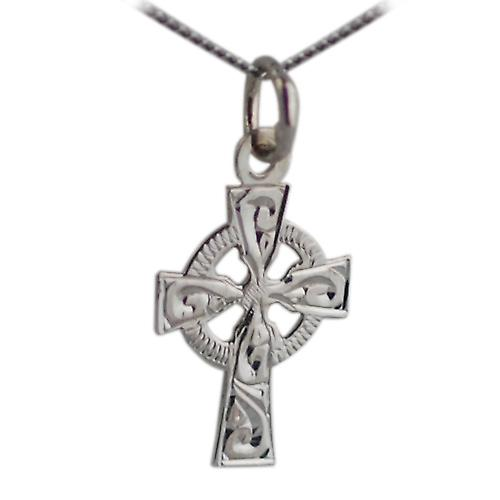 9ct White Gold 16x11mm rhodium plated engraved Celtic Cross with Curb chain