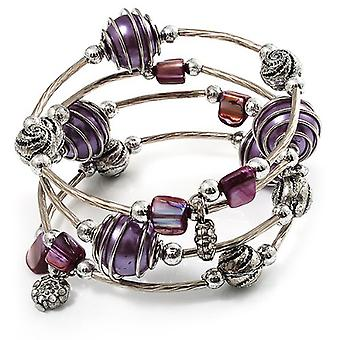 Silver Tone Beaded Multistrand Flex Bracelet - Purple