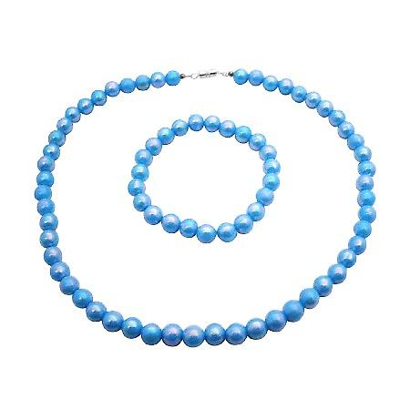 Shinny Turquoise Beads Girls Return Gift Affordable Necklace Bracelet