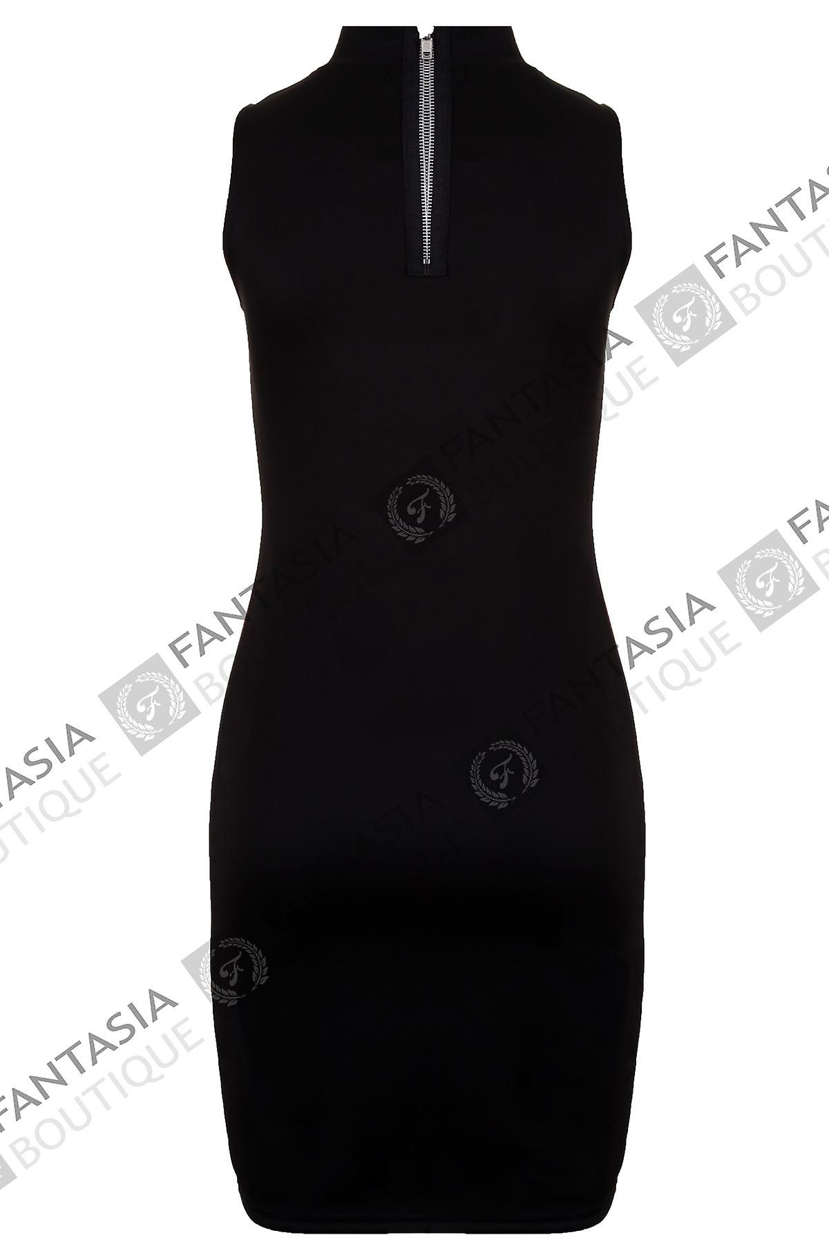 Ladies Diamonte Mesh Polo Neck Contrast Bodycon Women's Short Dress