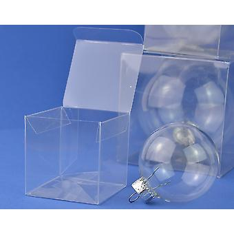 10 Acetate Square Box Presentation Boxes for Gifts or Baubles 6cm