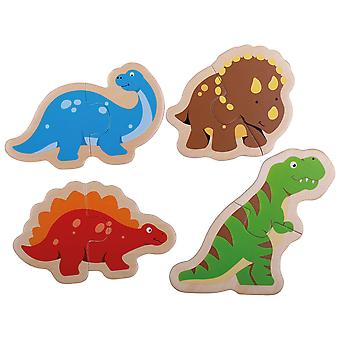 Bigjigs Toys Wooden Educational Two Piece Puzzles (Dinosaur) Early Learning Kids
