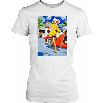Pin Up Poster Lady Getting Out of Car Ladies T Shirt