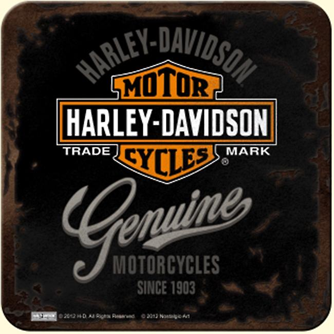 Harley Davidson Genuine (black) drinks mat / coaster   (na)