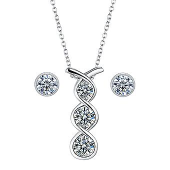 925 Sterling Silver Bezel Twist Pendant Necklace With Studs Set