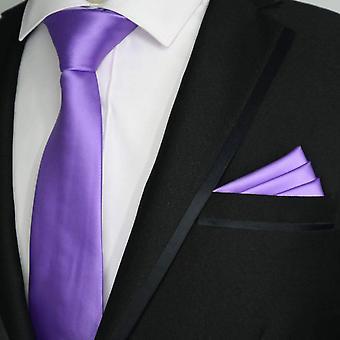 Royal Purple satiniert solide slim Krawatte & Einstecktuch