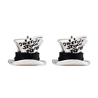 Disney White Gold-Plated Alice in Wonderland Mad Hatter Stud Earrings