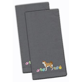 Акита Пасхи серый Вышитые кухонные полотенца комплект из 2