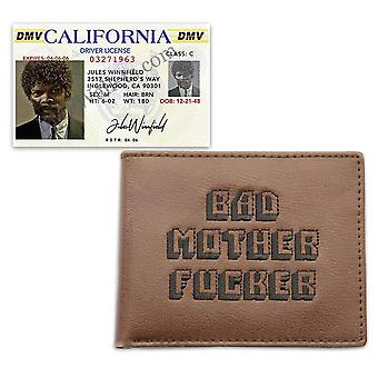 Pulp Fiction Bad Mother Fucker Purse Set with Jules Winnfield Driver's License Replica. Brown leather purse, embroidered.