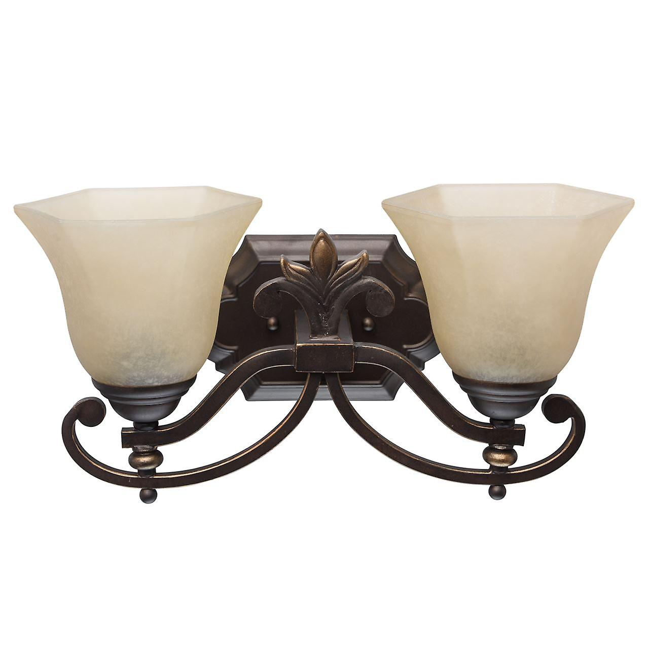 Glasberg  -  marron Two Light Wall Lamp With Glass Shades  382021302