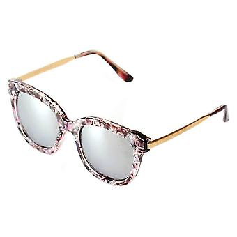 Dekalb | cd02 - women's oversize mirrored lens horned rim sunglasses