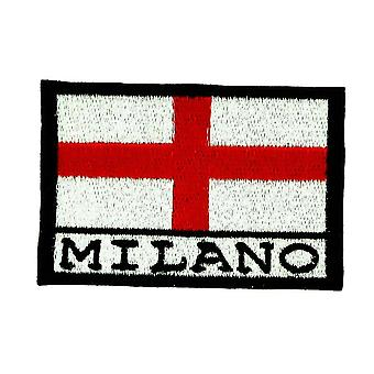 Patch Ecusson Brode Drapeau Milan Milano Italie Thermocollant Backpack Sac A Dos