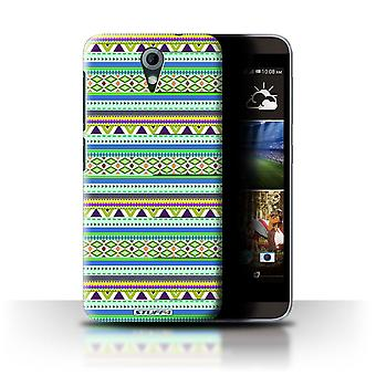 STUFF4 Case/Cover voor HTC Desire 820 Mini/groen/paars/Azteekse Tribal patroon