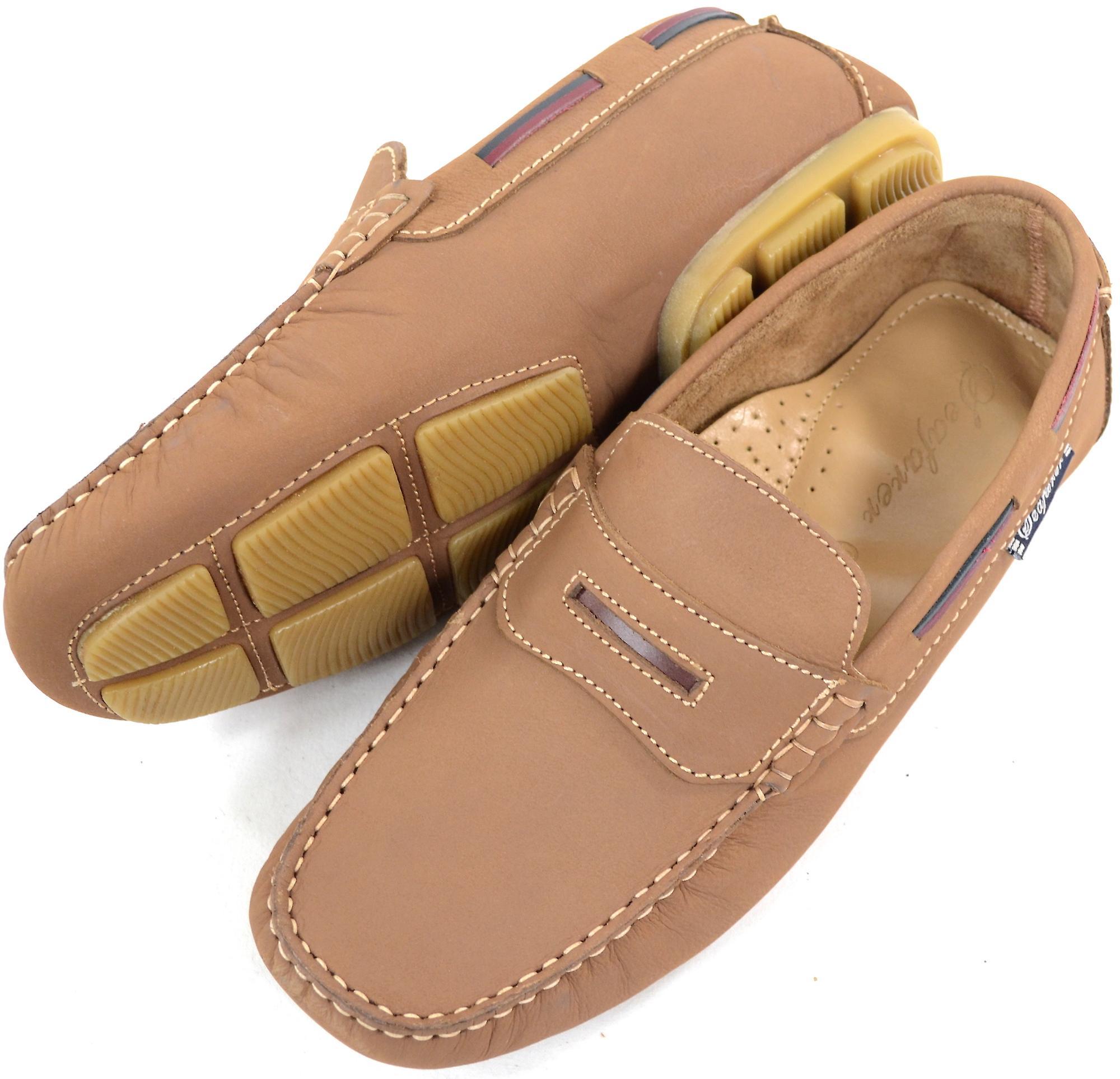 Herren Leder lässig / formellen Slip auf Boot / Deck Slipper / Mokassin Schuhe - Tan - UK 11