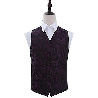 Black & Purple Passion Floral Patterned Wedding Waistcoat