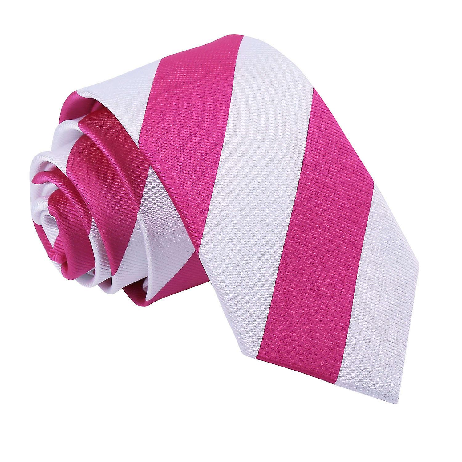 Striped Hot Pink & White Slim Tie