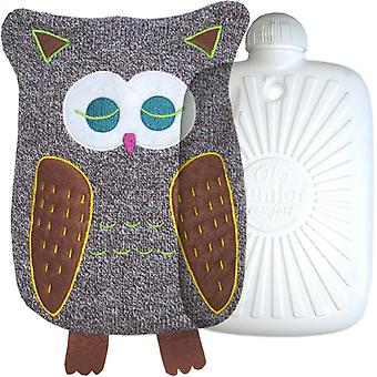 Hugo Frosch Eco Hot Water Bottle With Luxury Knitted Owl Cover 0.8L
