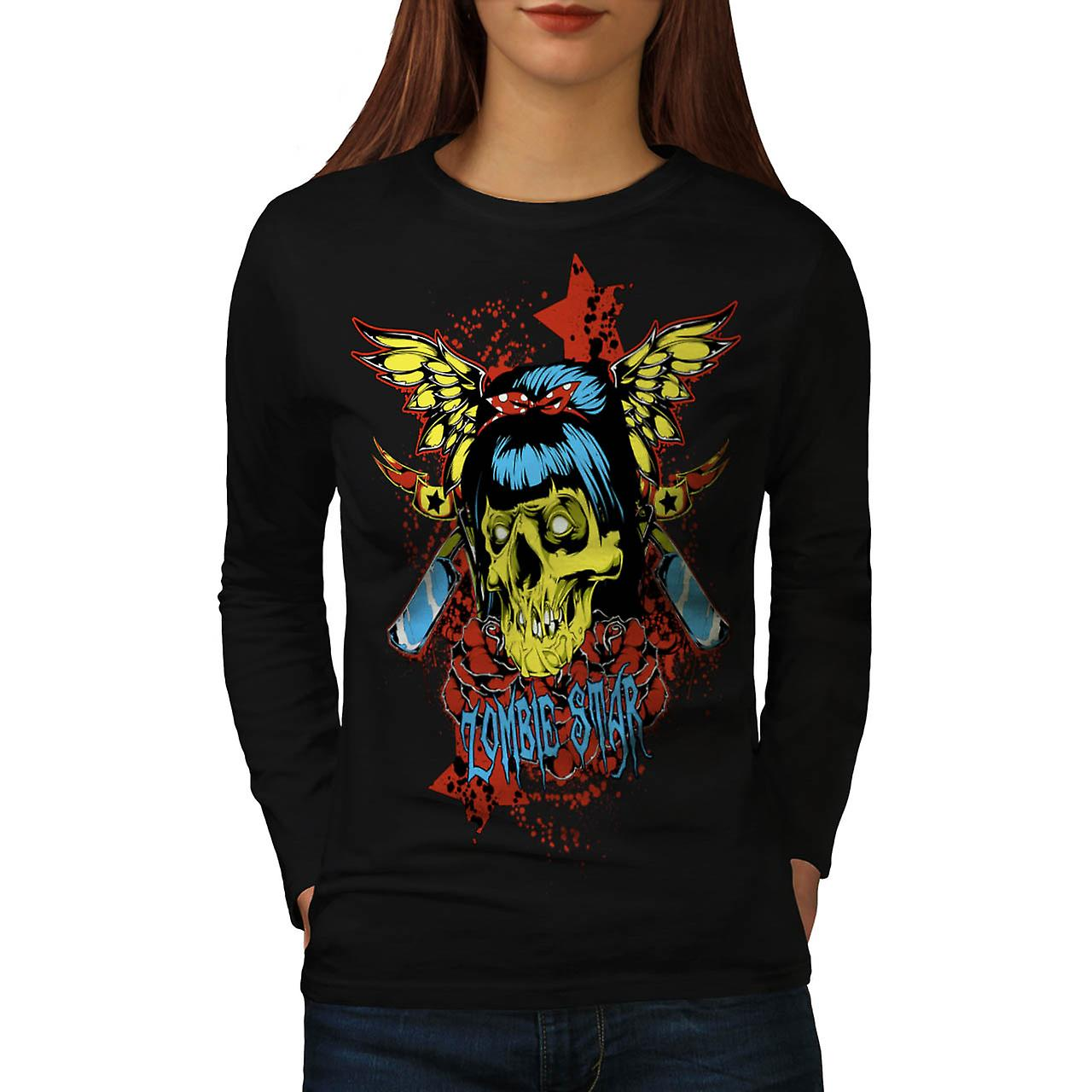 Zombie Star Horror Monster Skull Women Black Long Sleeve T-shirt | Wellcoda