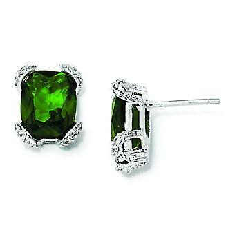 Sterling Silver Simulated Emerald and CZ Post Earrings
