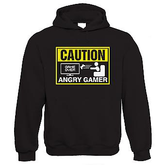 Vectorbomb, Caution, Angry Gamer, Mens Funny Gaming Hoodie