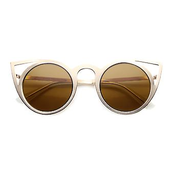 Womens Fashion Round Metal Cut-Out Flash Mirror Lens Cat Eye Sunglasses