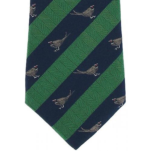 Michelsons of London Pheasant Silk Tie - Green