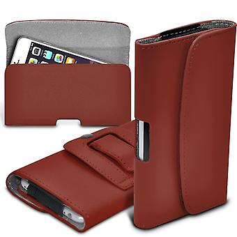 Motorola Moto X Style Horizontal Faux Leather Belt Holster Pouch Cover Case (Brown)
