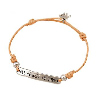 Femme - corail vif bracelet - argent gravé de - ALL WE NEED IS LOVE - - - rose