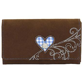 Purse Purse women's wallet Friedrich rollover stock velvet Brown Plaid cotton blue
