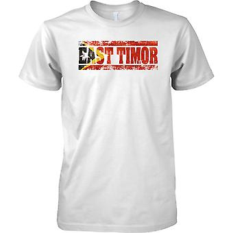 East Timor Grunge Country Name Flag Effect - Mens T Shirt