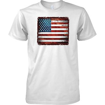 USA Grunge Grunge Effect Flag - Stars and Stripes - Mens T Shirt