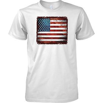 Estados Unidos Grunge Grunge efecto bandera - estrellas y rayas - para hombre T Shirt