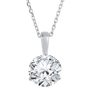 1 1/2 ct Solitaire Lab Grown Diamond Pendant available in 14K and Platinum