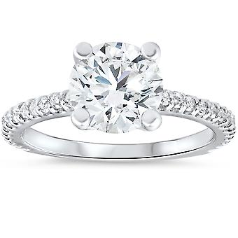 3 carat Diamond Engagement Solitaire Ring 14K vitguld Enhanced Round Cut