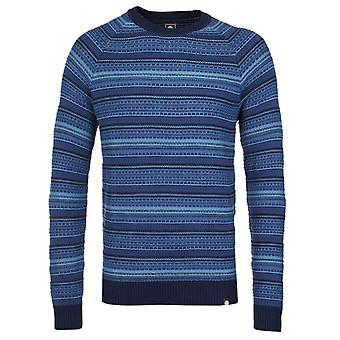Pretty Green Striped Crew Neck Navy Knitted Jumper