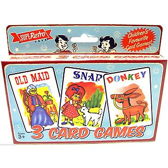 Retro Set van 3 Card Games speelkaarten ~ Old Maid Snap Donkey
