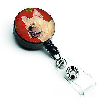 French Bulldog Red and Green Snowflakes Holiday Christmas Retractable Badge Reel