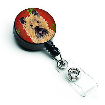 Cairn Terrier Red and Green Snowflakes Holiday Christmas Retractable Badge Reel