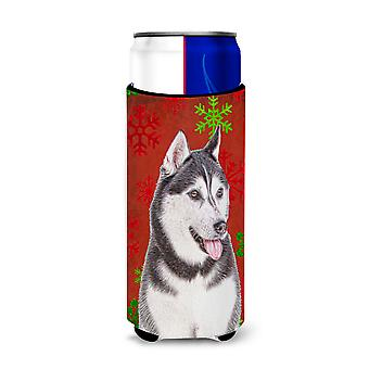 Red Snowflakes Holiday Christmas  Alaskan Malamute Ultra Beverage Insulators for