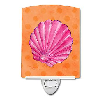 Pink Sea Shell Orange Polkadot Ceramic Night Light