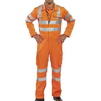 B-Seen Rail Spec Hi Vis Coverall With Cargo Pockets & Teflon Coating - Rsc